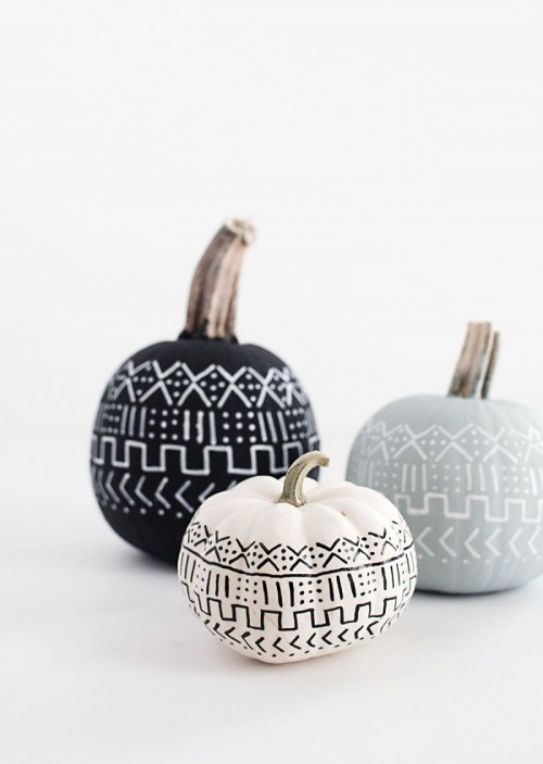 DIY Mud Cloth Pattern Pumpkins