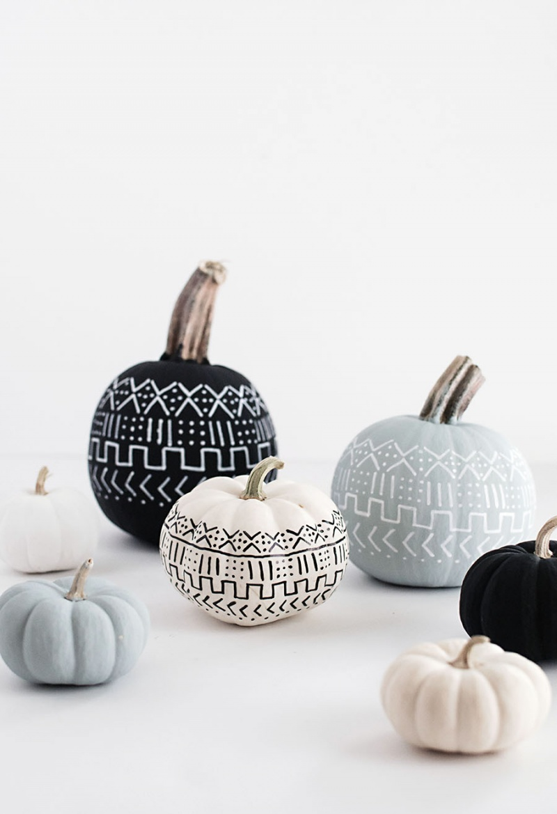 Picture Of diy mud cloth pattern pumpkins  5