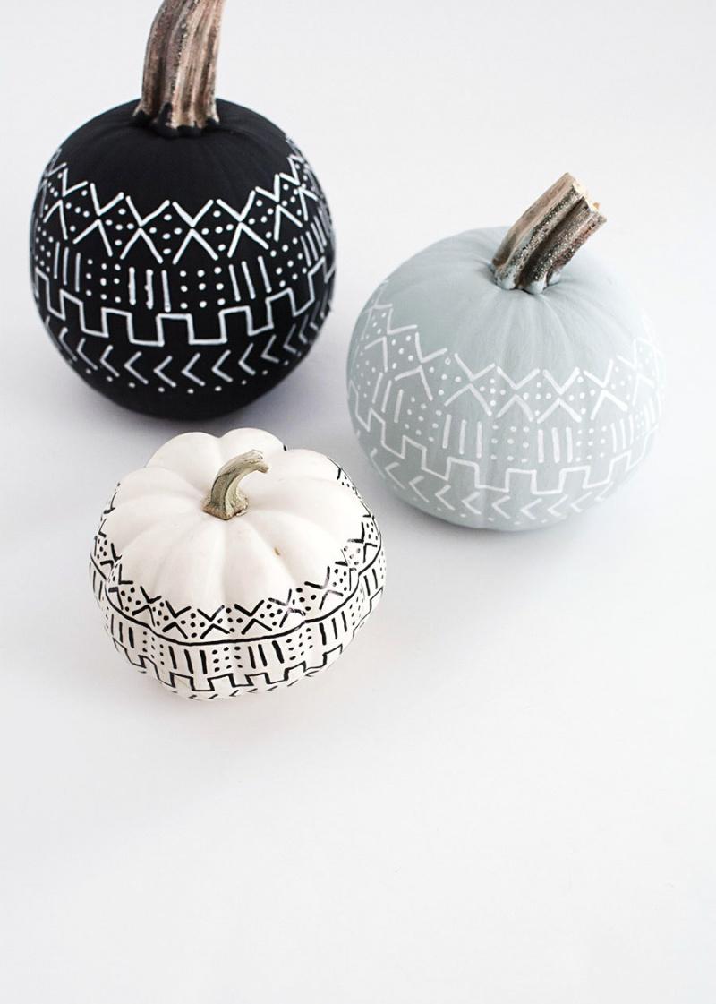 Picture Of diy mud cloth pattern pumpkins  6
