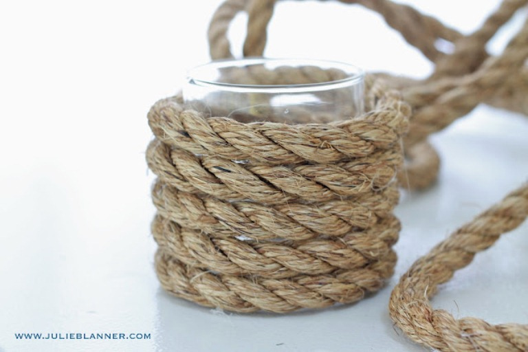 Diy Nautical Vase Decorated With Thick Rope