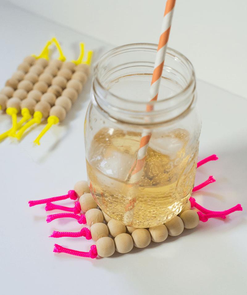 Diy Neon Cord And Bead Coasters