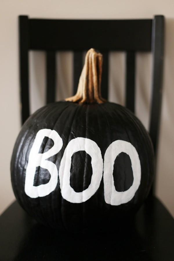 spooky painted pumpkin
