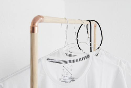 DIY Nordic-Inspired Copper And Wood Clothing Rack