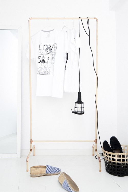Diy Nordic Inspired Copper And Wood Clothing Rack