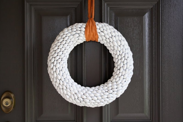 white acorn wreath