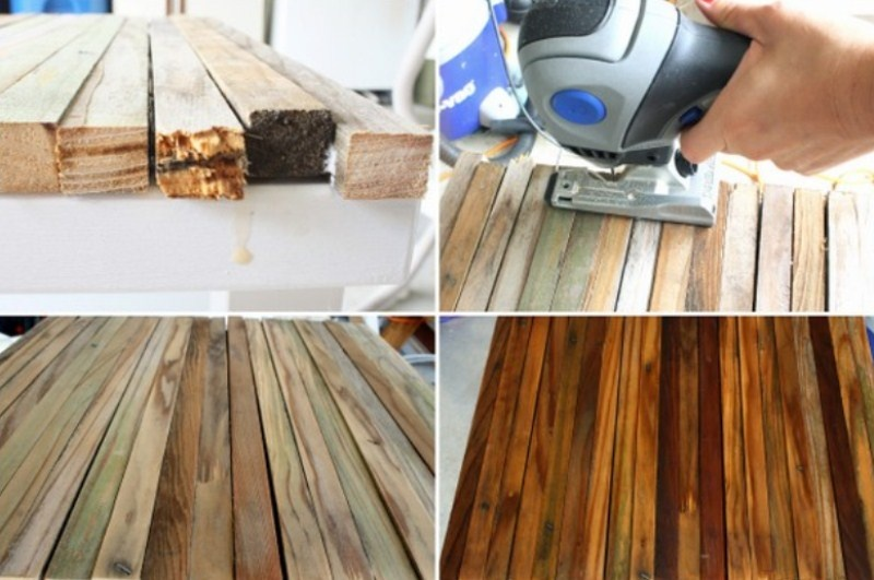 Picture of diy old side table renovation with reclaimed wood How to renovate old furniture