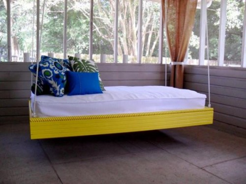bright yellow hanging bed (via ana-white)