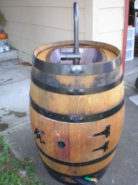 Diy Outdoor Sink Of An Old Wine Barrel