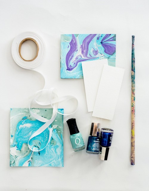 DIY Paper And Ribbon Marbling With Nail Polishes