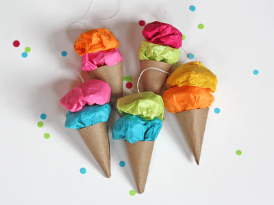 DIY Easy Paper Ice Cream Ornaments