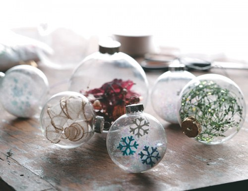 Glass Ball Ornaments Decorated With Tissue Paper