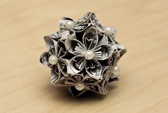 すべての折り紙 花 くす玉 折り紙 折り方 : Paper Kusudama Flower Ball
