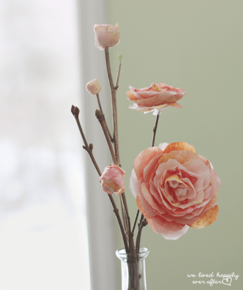 pink paper flowers (via welivedhappilyeverafter)