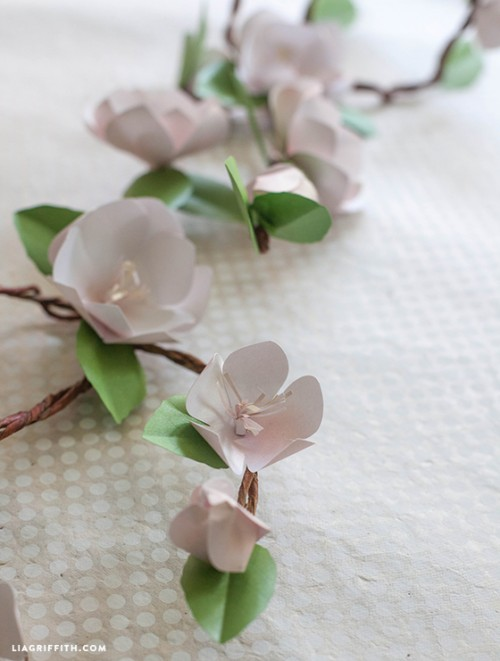 paper apple blossom branches (via liagriffith)