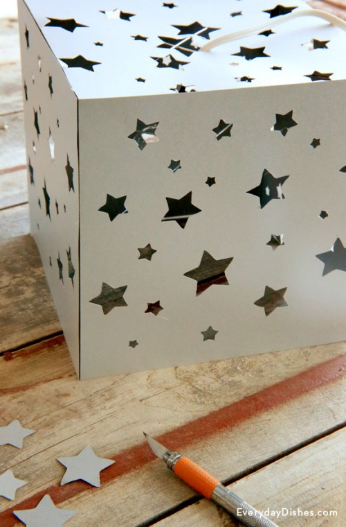 Diy Paper Lantern With A Star Pattern Shelterness