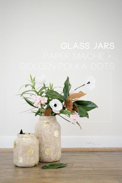 DIY Paper Mache Golden Polka Dot Vases