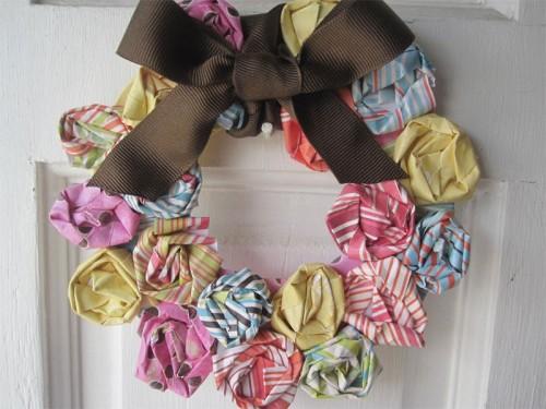 DIY Mini Rosette Spring Wreath