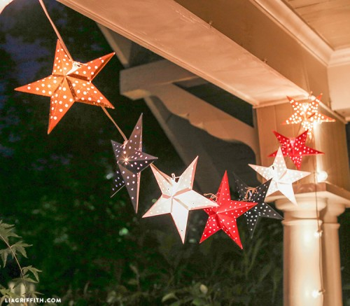 diy party lighting. DIY Paper Star Lights Garland For The 4th Of July Diy Party Lighting