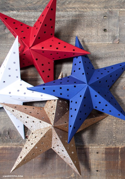 Diy paper star lights garland for the 4th of july for Diy star lantern