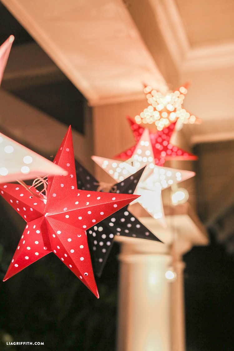 Picture Of diy paper star light garland for the 4th of july  3