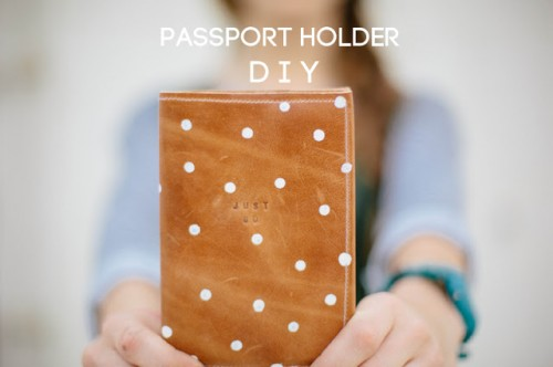 polka dor leather passport holder