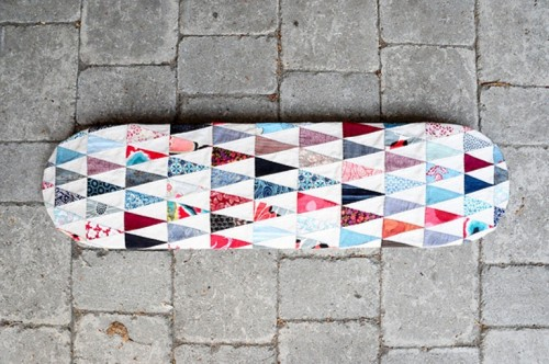 patchwork skateboard decor (via shelterness)