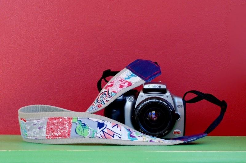 vintage patchwork camera strap