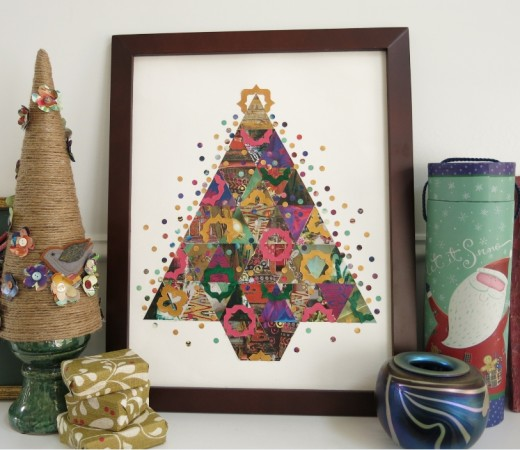 patchwork Christmas tree art