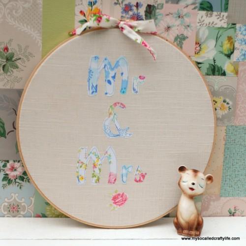 patchwork hoop art (via mysocalledcraftylife)