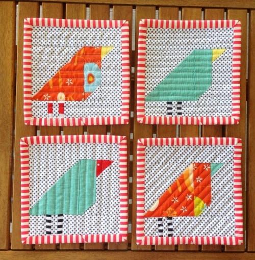 wonky bird patchwork coasters (via sameliasmum)