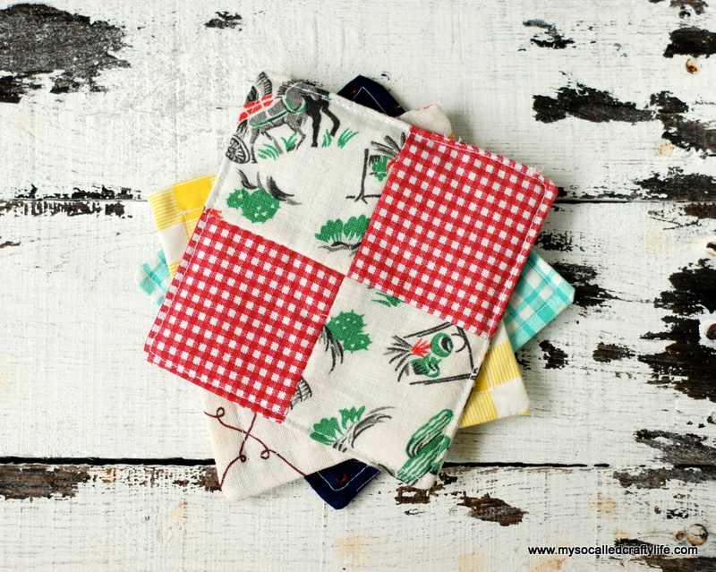 scrappy patchwork fabric coasters