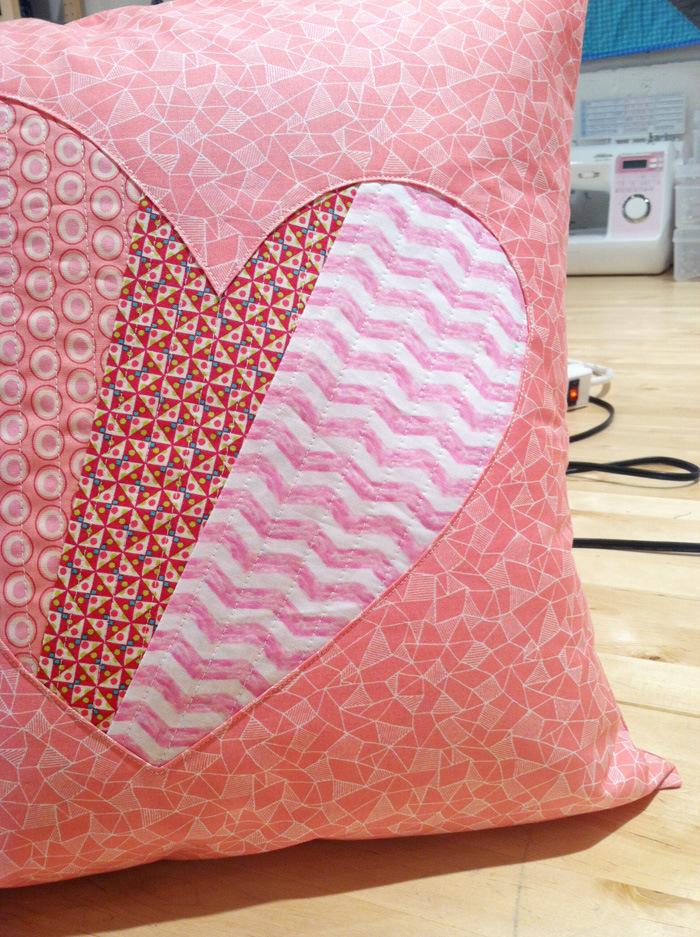 patchwork heart pillow