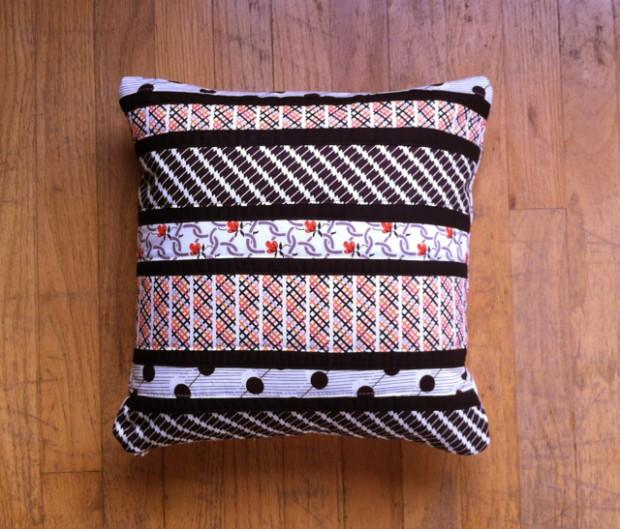 striped patchwork pillow