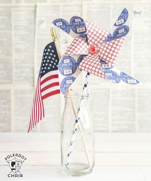 DIY Patriotic Pinwheels For Independence Day