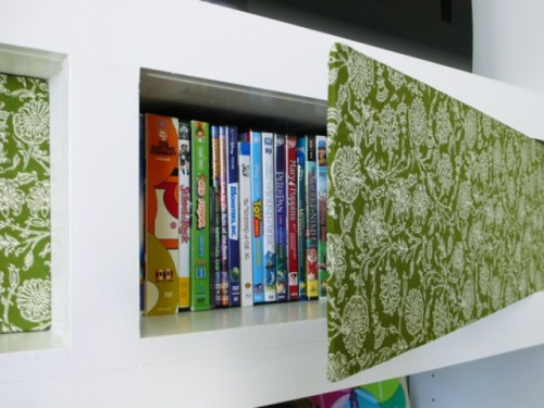 DIY Patterned Fabric Bookshelf Cover-Up