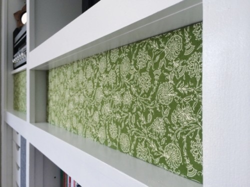 Diy Patterned Fabric Bookshelf Cover Up Shelterness