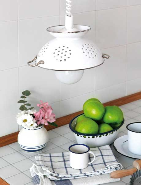 Diy Pendant Lamp Of Colander