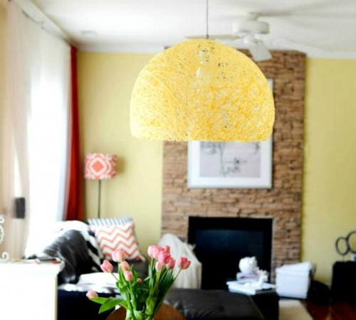 DIY Pendant Light Of Colorful Yarn