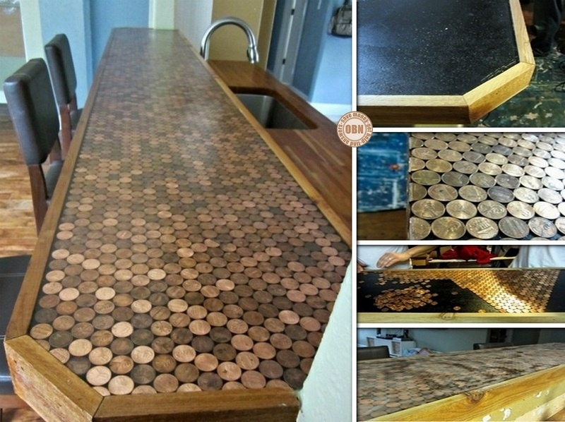 Countertop Diy : DIY Penny Kitchen Countertops ? diy penny countertop makeover (via ...