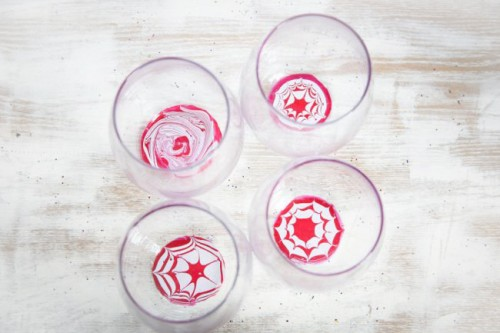 DIY Peppermint Water Marbled Glasses