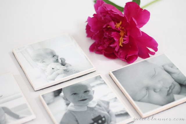 black and white photo coasters