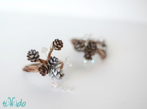DIY Pinecone And Sparkling Beads Napkin Rings
