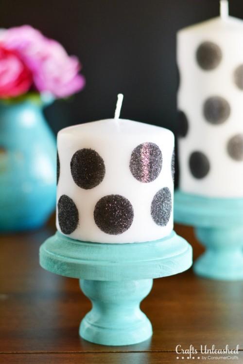 polka dot candles (via craftsunleashed)