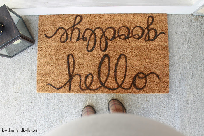 DIY Pottery Barn-Inspired Inscription Doormat