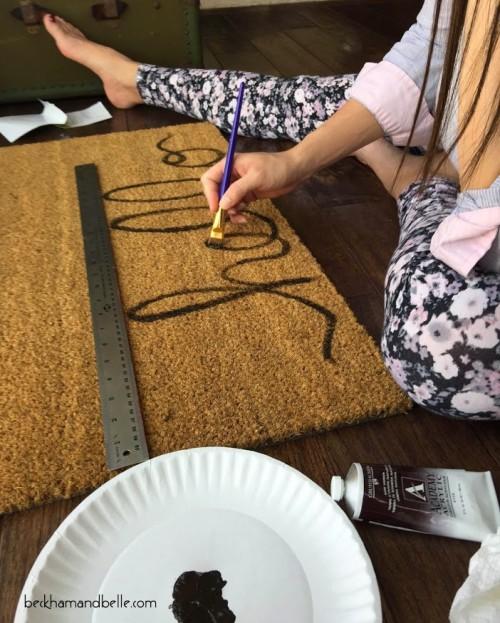 DIY Pottery Barn Inspired Inscription Doormat