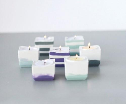 DIY Powder Plaster Candle Votives