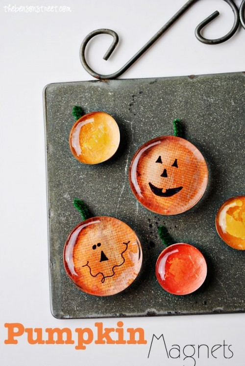 Diy Pumpkin Magnets Of Glass Rocks