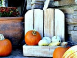 whitewashed pumpkin stand