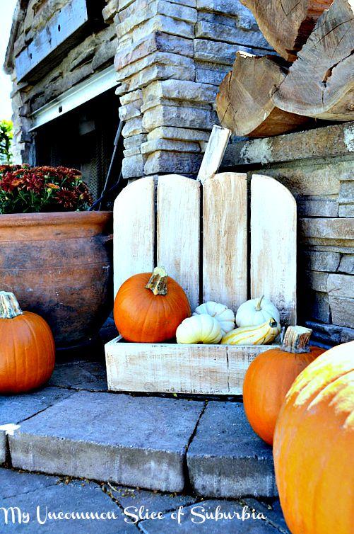 whitewashed pumpkin stand
