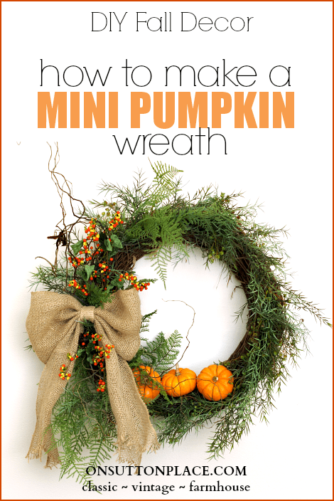 mini pumpkin wreath (via onsuttonplace)